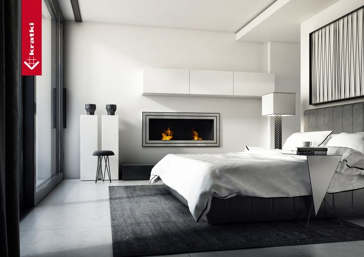 Biofireplace Juliet 1500 #kratki #biofireplace # interior #bedroom #modern #white