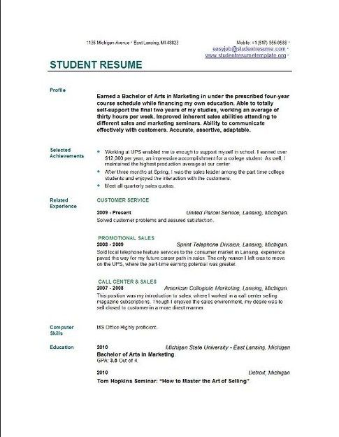 Basic Resume Examples For Students - Template