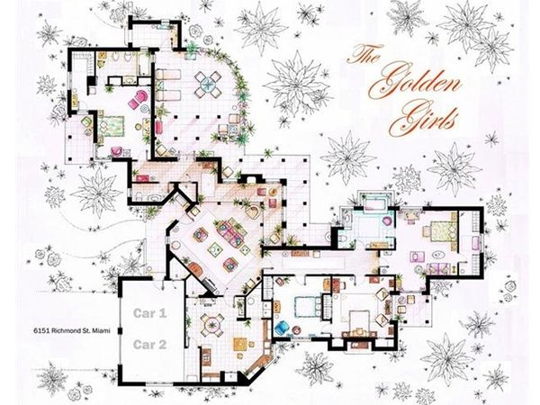 The Golden Girls House. famous tv show floor plans @Kirsti Mygdam Testroote cook
