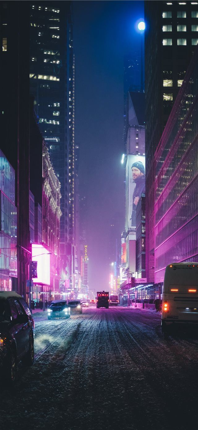 Neon New York Under The Snow Iphone X Wallpaper Night City