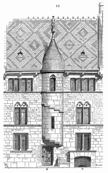 Maison.XIIIe.siecle.Bourgogne #architectural drawing of a 13th century residence in Burgundy, France #medieval