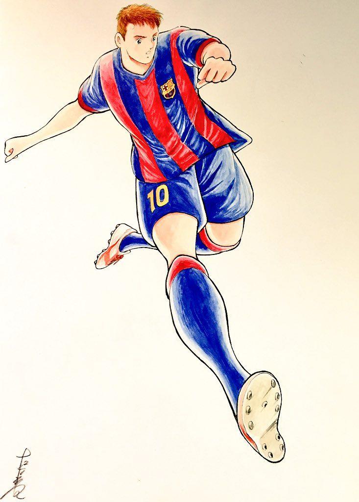 """746. Image: Messi by Yoichi Takahashi, creator of """"Captain Tsubasa"""""""