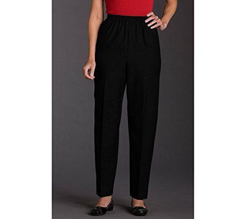Alfred Dunner Classics Elastic Waist Pants Black 16 M