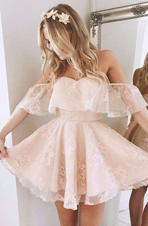 A-Line Homecoming Dress,Lace Prom Dress 2017,Off-the-Shoulder Short Prom Dresses,Short Pearl Pink Homecoming Dress,Lace Homecoming Dresses,cocktail dress,sweet 16 dresses