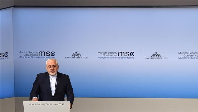 The Foreign Minister of Iran Javad Zarif delivers a speech during the third day of the 53rd Munich Security Conference (MSC) at the Bayerischer Hof hotel in Munich, southern Germany, on February 19, 2017. (Photo by AFP)