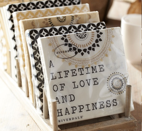 Riverdale Joy of Living > Collectie > City Elegance.  Quotes on napkins.  Great product to decoupage onto something! ... http://www.riverdale.nl/collection/23/l+City+Elegance.html#