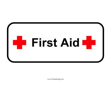 First Aid Printable Sign, free to download and print