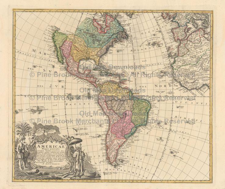 Western Hemisphere Old Map Homann Heirs 1746 Digital Image Scan Download Printable