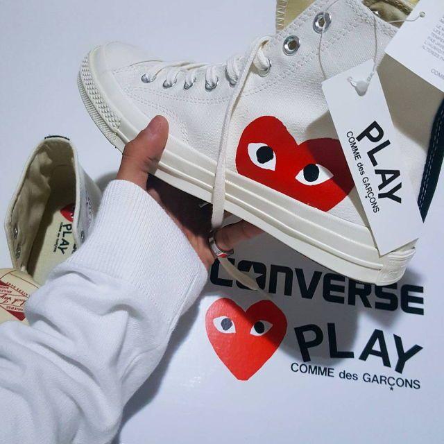 converse x comme des garçons all play white converse. $115.