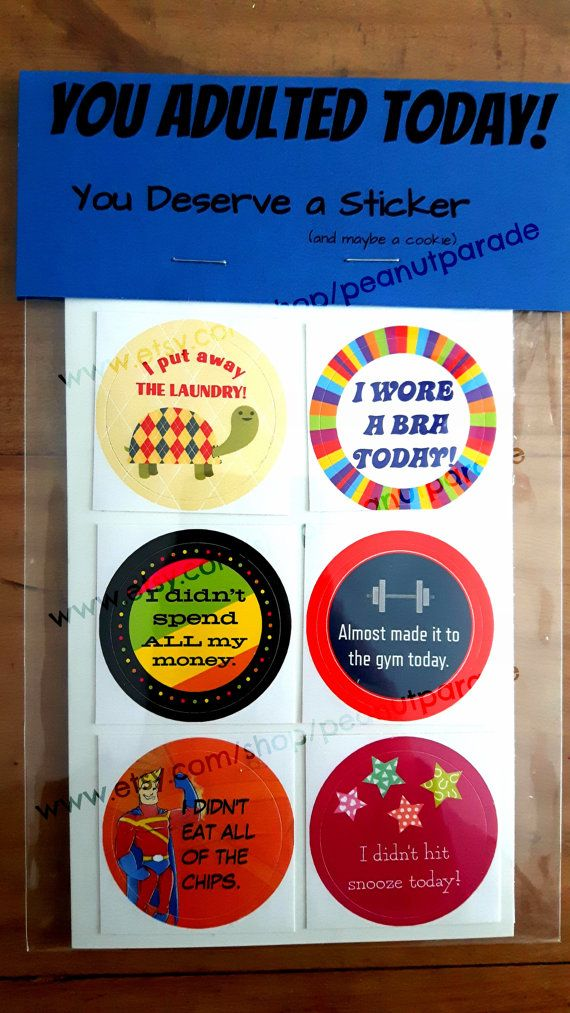 You know what we dont get anymore as adults? Reward stickers. We still do good things, hard things, unpleasant things. Why doesnt someone give us a sticker? (or a cookie? or $10,000?) Now you can buy them for yourself. 6 full colour #adulting stickers. A great gift for your favourite adultier adult. Or for you. Whatever.   ***Please be advised, that since going viral (!), I have changed the package topper from what you see in the picture. I couldnt keep up with demand using that style of…