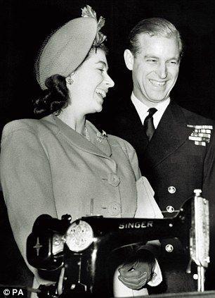 Princess Elizabeth (later Queen Elizabeth II) and Lieutenant Philip Mountbatten with a Singer Sewing machine. S)
