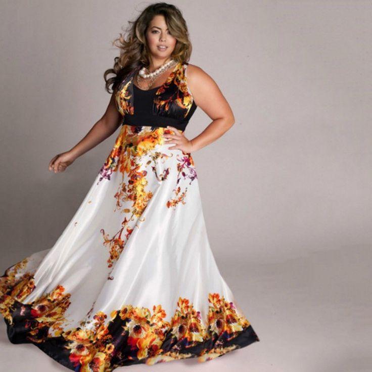 Micky 2016 Amazing casual style sleeveless natural waist o-neck floor-length X-6XL women print long maxi summer dress Plus Size
