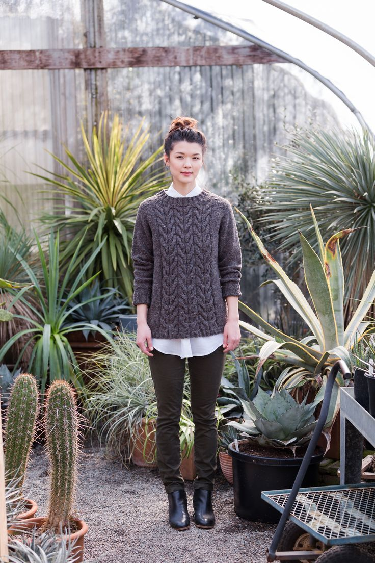 """Oda cabled raglan pullover by Yoko Hatta. Shown in color """"Truffle Hunt"""". From Brooklyn Tweed's """"Wool People 10"""" Collection."""