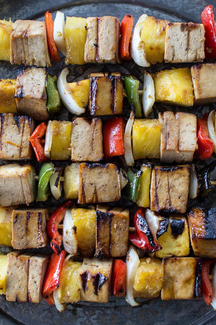 Grilled pineapple Teriyaki Tofu Skewers with Aromatic Coconut Rice | Flourishing Foodie--- vegan camping food!