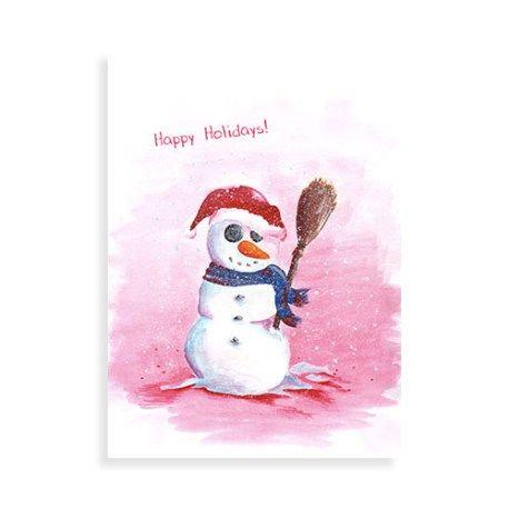 """Kerstkaart met illustratie van Illu-Straver. """"Happy Holidays sneeuwpop"""""""