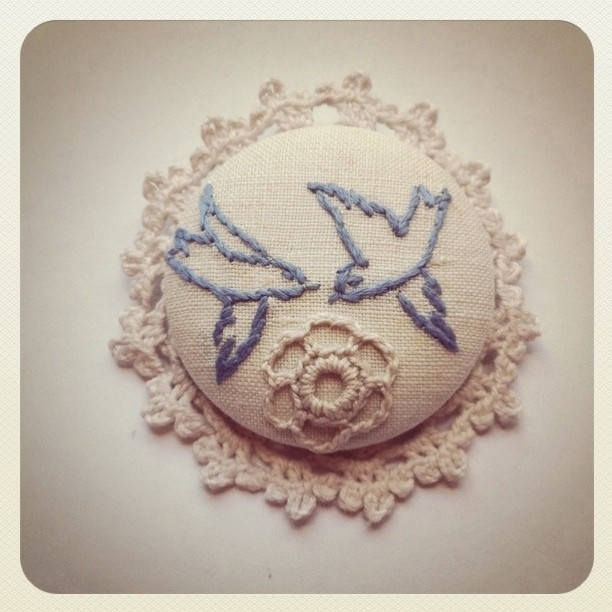 pair dancing blue swallowsbrooch. ( one of its kind ) $22
