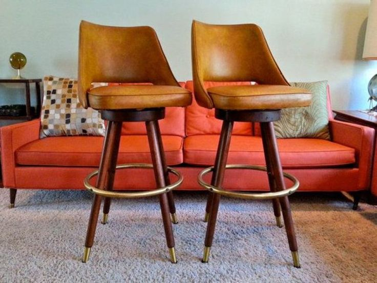 Furniture, Brown Vintage Modern Swivel Bar Stools With Backs On Four Brown Brass Leg: Swivel Bar Stools for Home bar Concept