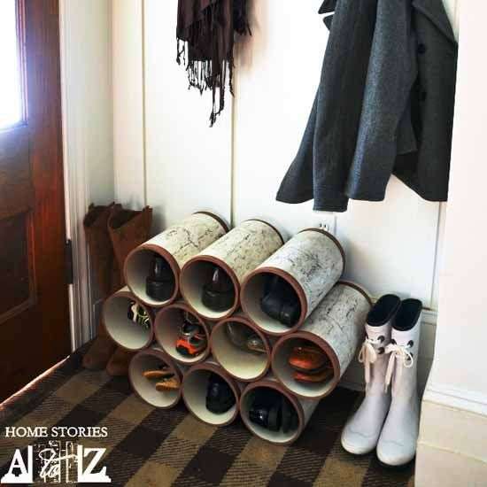 Make this stylish and functional shoe organizer out of PVC piping! (via Home Stories A to Z)