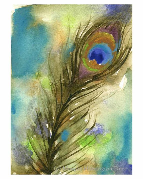 Peacock Watercolor Painting - 8x10 Fine Art Print - Bird Artwork - Feather Painting on Etsy, $25.00