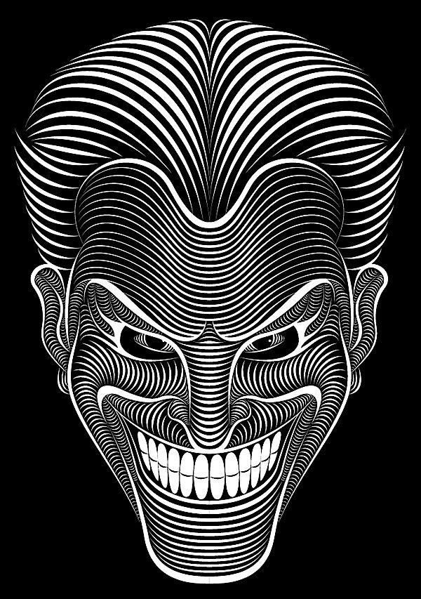 Line work Joker by Patrick Seymour  A little disturbing, but amazing nevertheless.