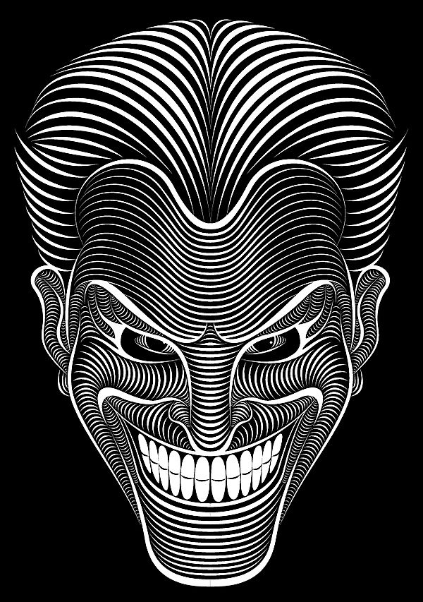 The Joker Line Art : Awesome illustrations with lines patrick seymour jokers