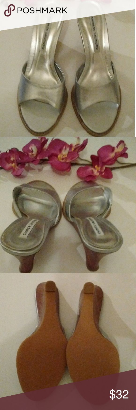 Chinese Laundry Silver Wedge Sandals NWOT. Has a comfortable rubber sole. Chinese Laundry Shoes Sandals