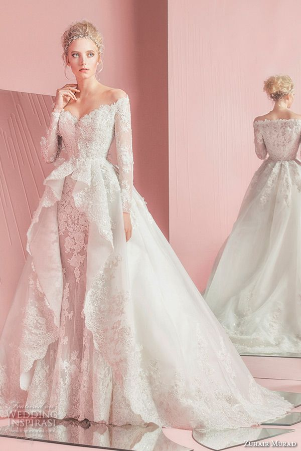 zuhair murad spring summer 2016 bridal off the shoulder long sleeves sheath wedding dress with overskirt ball gown train patsy
