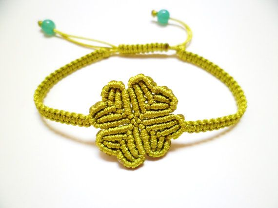 Four Leaf Clover Macrame Knot Friendship Lime Cord Bracelet