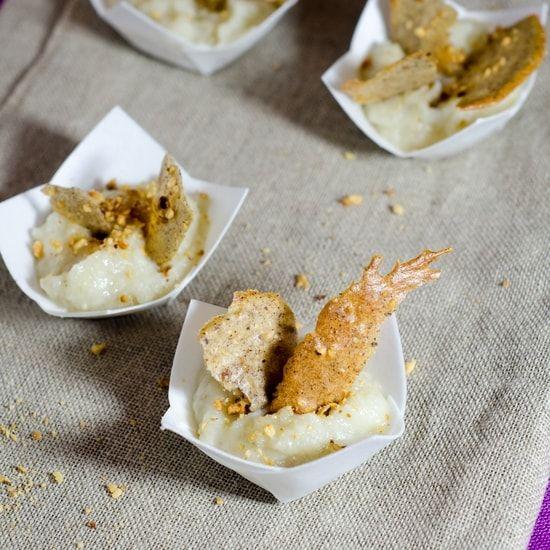 Recette de Verrine de purée de topinambours à l'huile d'argan et tuile aux noisettes : la recette facile
