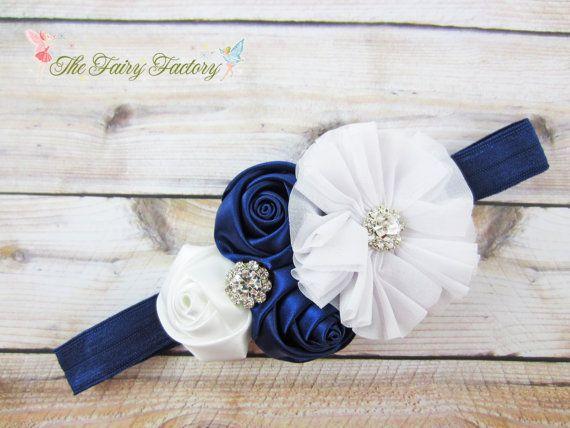 Navy Blue And White Headband Satin Amp Chiffon Flowers