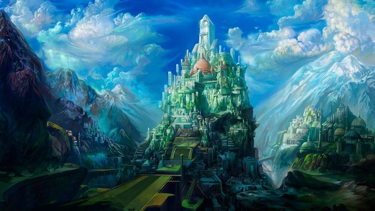mystical landscapes   fantasy castles castle art drawing ...