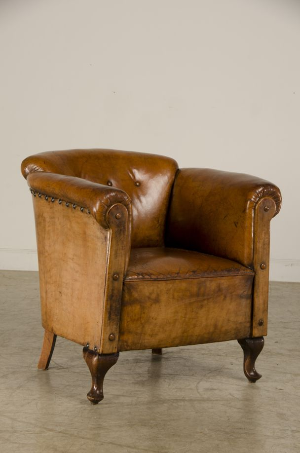 Art Moderne Leather Armchair With Original Leather.
