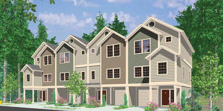 101 best triplex and fourplex house plans images on for Fourplex designs