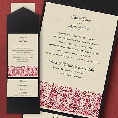 Hearts Of Glory Pocket Wedding Invitation A Glorious Flourished Design Is  Shown On This Card Enclosed With A Pocket.