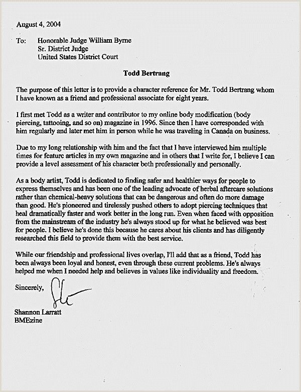 Character Letter To Judge For