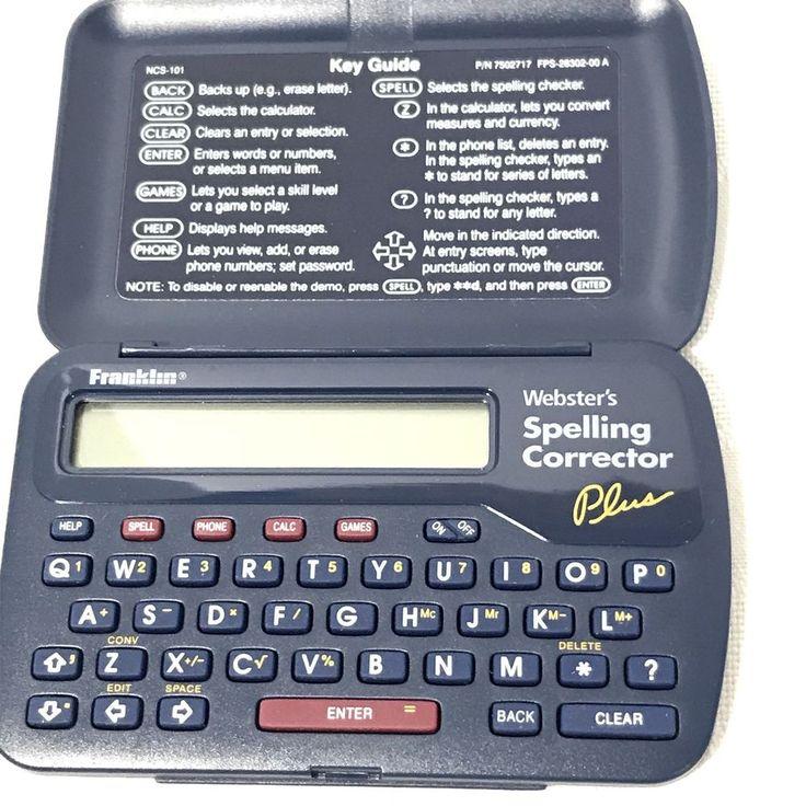 Franklin Websters Spelling Corrector Plus Model Number NCS-101 Dated 1994-1997