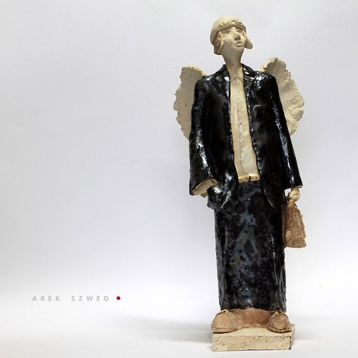 The angel in black suit/Ceramic Sculpture /Unique Ceramic Figurine /Ceramic Angel by arekszwed on Etsy