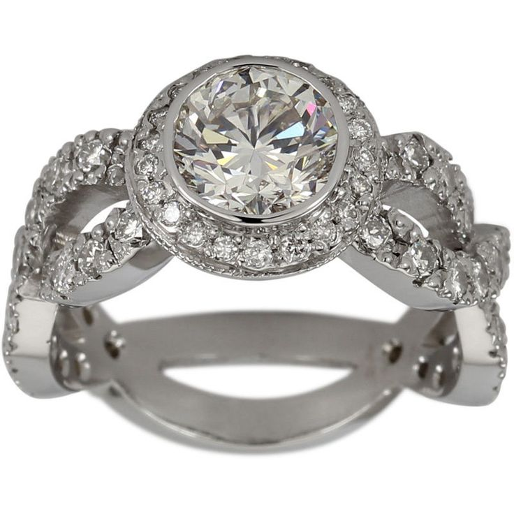 Bezel Diamond Halo Engagement Setting With Twisted Diamond Shank #Dacarli #SolitairewithAccents