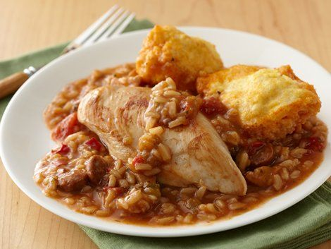 Chicken and Sausage Gumbo with Corn Dumplings | Recipe