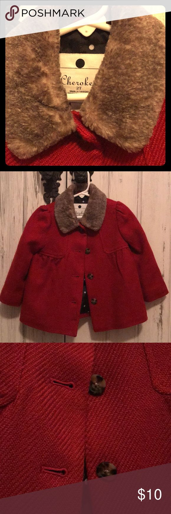 Red Cherokee coat with faux fur collar Deep Red Girls Peacoat with faux fur collar. Polka dot lining and 4 buttons Cherokee Jackets & Coats Pea Coats