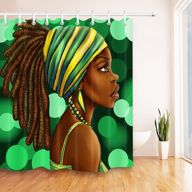 African American Woman Shower Curtain Afro Hairstyle Black Girl