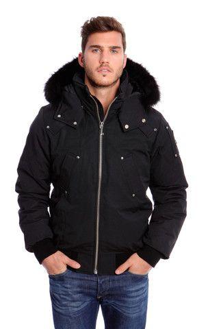 Moose Knuckles Men's Ballistic Bomber in Black with Black Fur