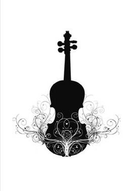 Looking for that special card for your violin student recital? Classy black and white violin image with decorative flourish.  Send a violin card from your computer. It  is printed, stamped and mailed with a few clicks for around $2. No commitments. Type your own message.