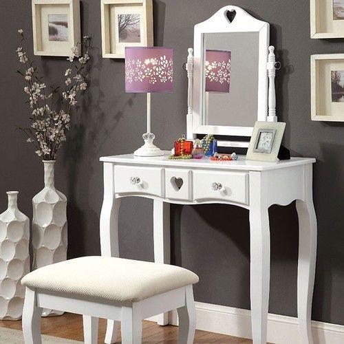 3 PC Furniture of America Francine White Vanity Set CM-DK6430WH