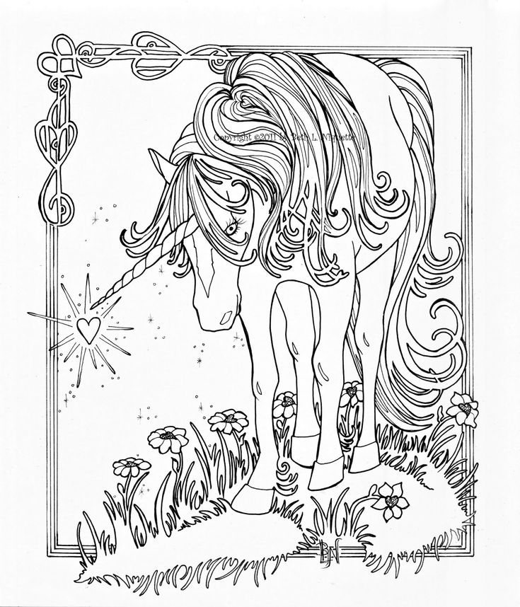 Majestic Unicorn Coloring Page