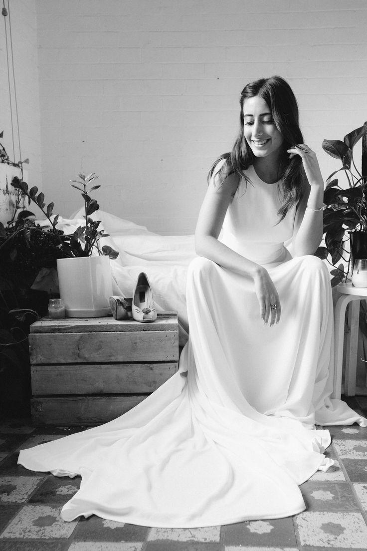 TROPEZ GOWN   minimal bridal gown high neck wedding dress backless dress Simple wedding dress