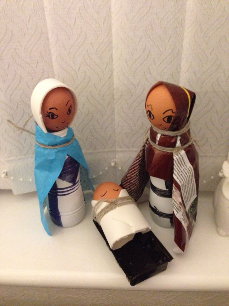 Recycled nativity set with milk bottle and eggs
