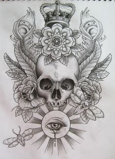 beautiful skull tattoo pencil sketch with soft shading, king crown hat, big rose flower, butterfly, leaves and feather on background, great tattoo for full back for guys, gothic gangster street style, black ink outlines