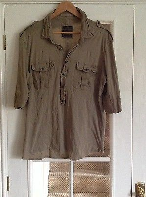 All saints men's XL khaki green army style shirt top buttons extra large new