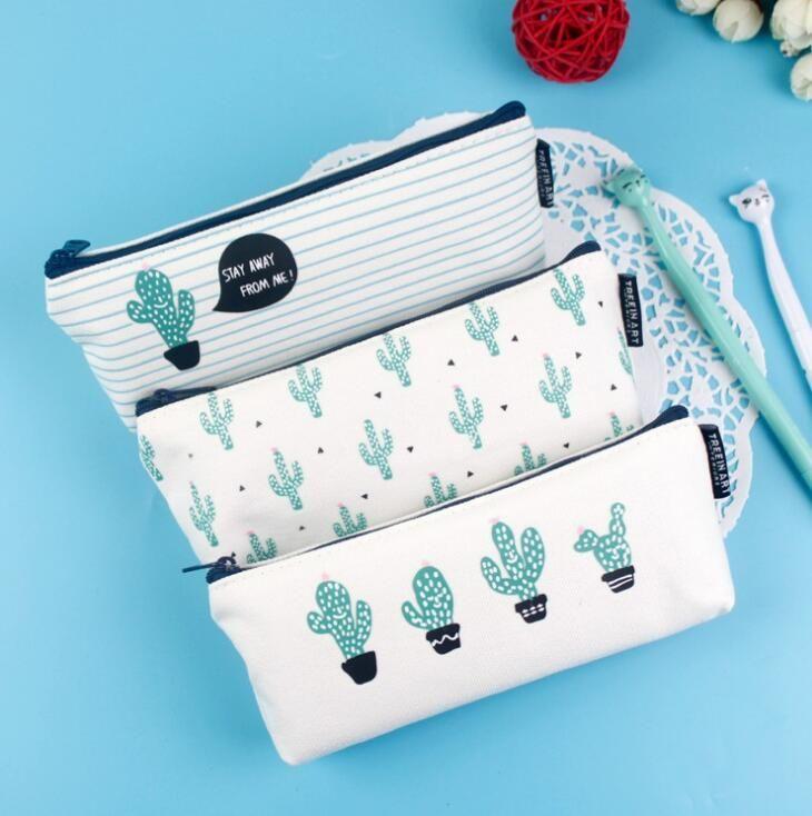 Korte Stijl Groene Cactus Canvas Grote Capaciteit Potlood Tas Briefpapier Organizer Case School Supply